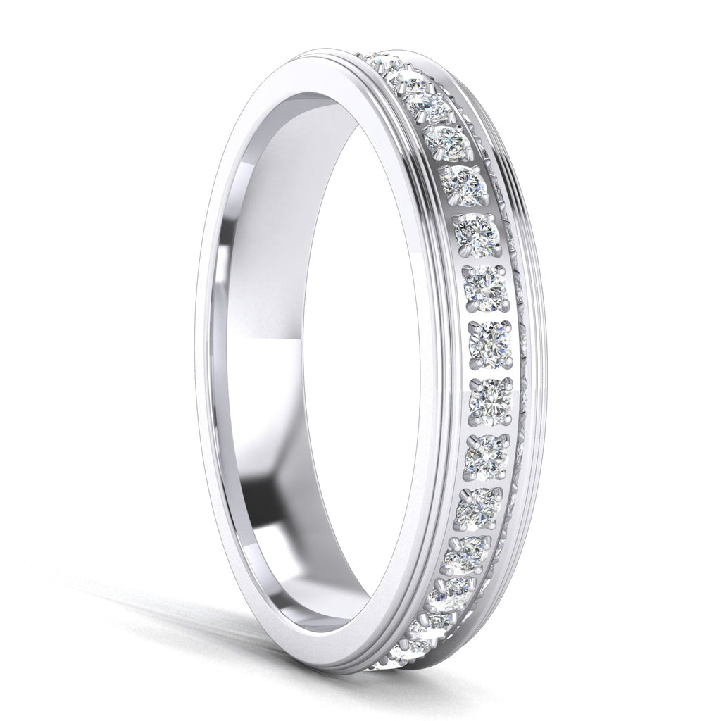 Unisex Comfort Fit Sterling Silver 4mm Simulated Diamond Full Eternity Ring Wedding Band