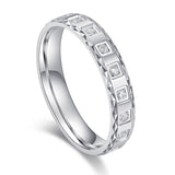 Unisex Comfort Fit Solid Sterling Silver 4mm Simulated Diamond Full Eternity Ring Patterned Wedding Band
