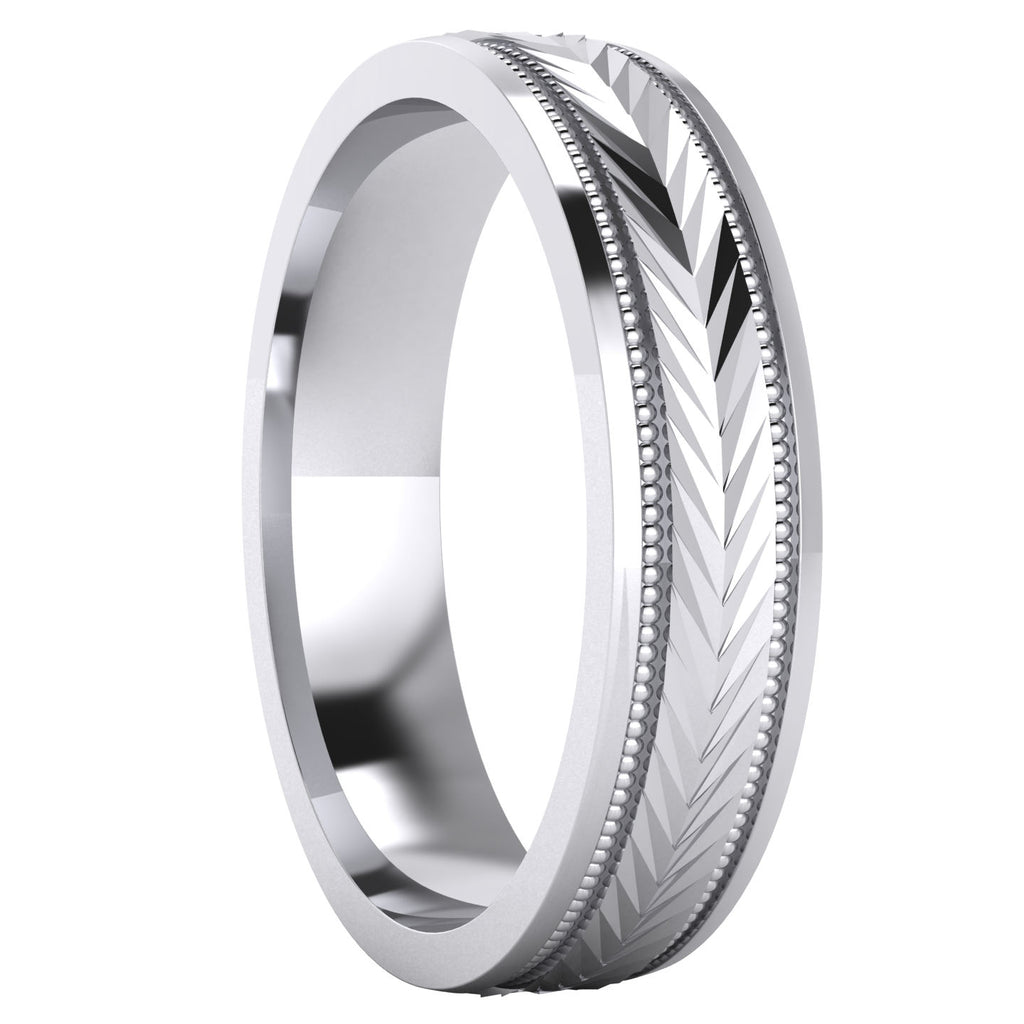 Heavy Sterling Silver 5mm Unisex Wedding Band Milgrain Arrow Patterned Ring Comfort Fit Polished