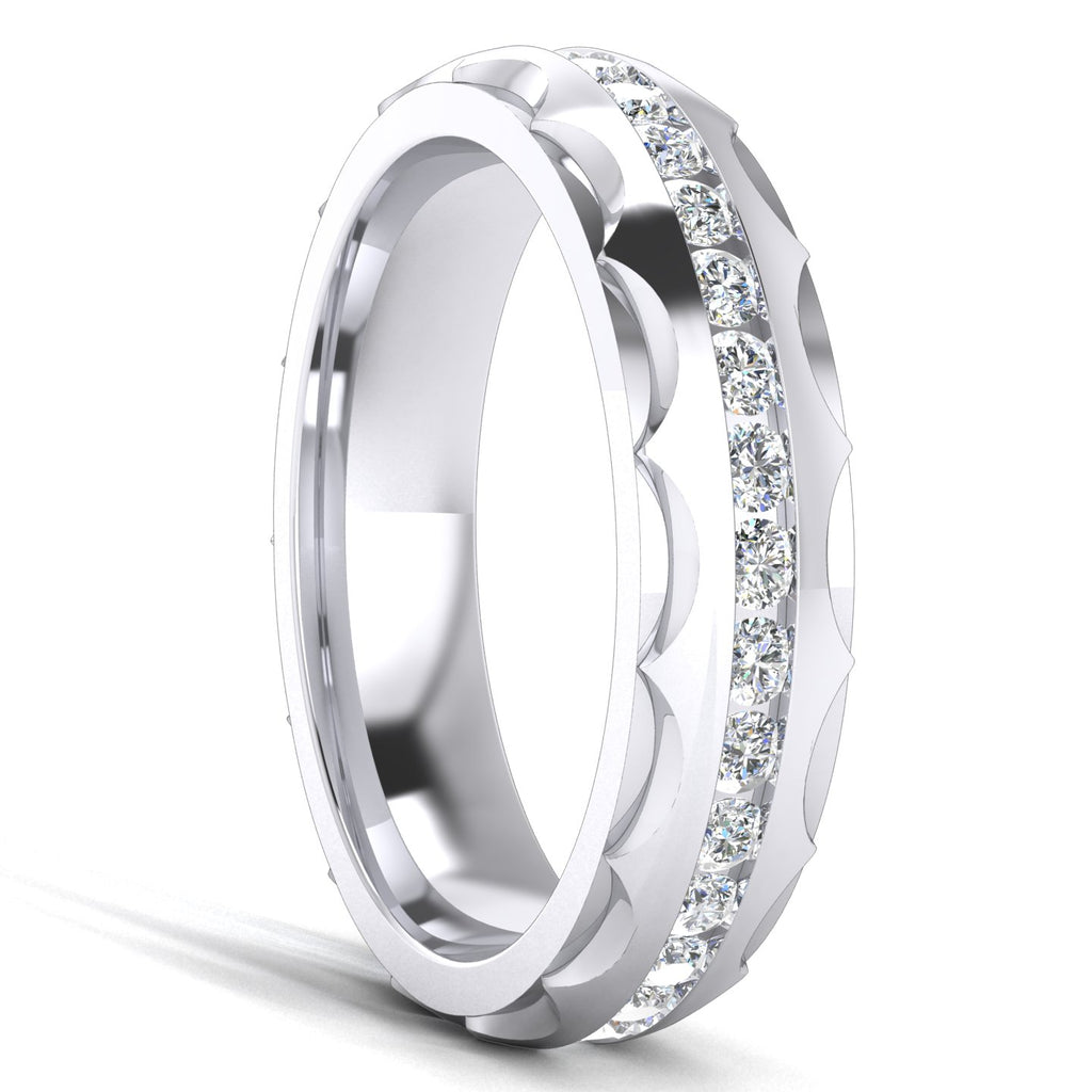 Unisex Comfort Fit Sterling Silver 5mm Domed Simulated Diamond Full Eternity Ring Patterned Wedding Band