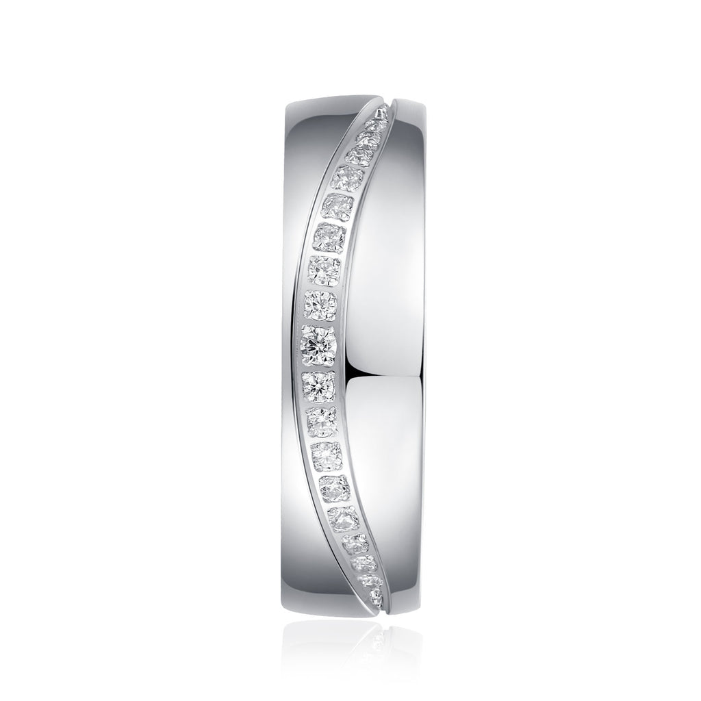 6mm Comfort Fit Heavy Sterling Silver Curved Set Simulated Diamond Court Shape Wedding Band