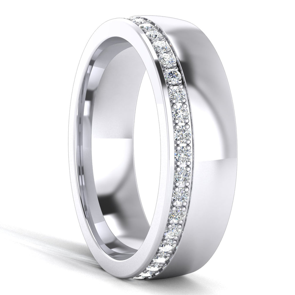 Comfort Fit Heavy Sterling Silver 6mm Court Shape Simulated Diamond Wedding Band Full Eternity Ring