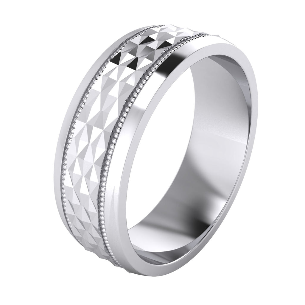 FB Jewels 925 Sterling Silver 8mm Light Comfort Fit Mens Wedding Ring Band