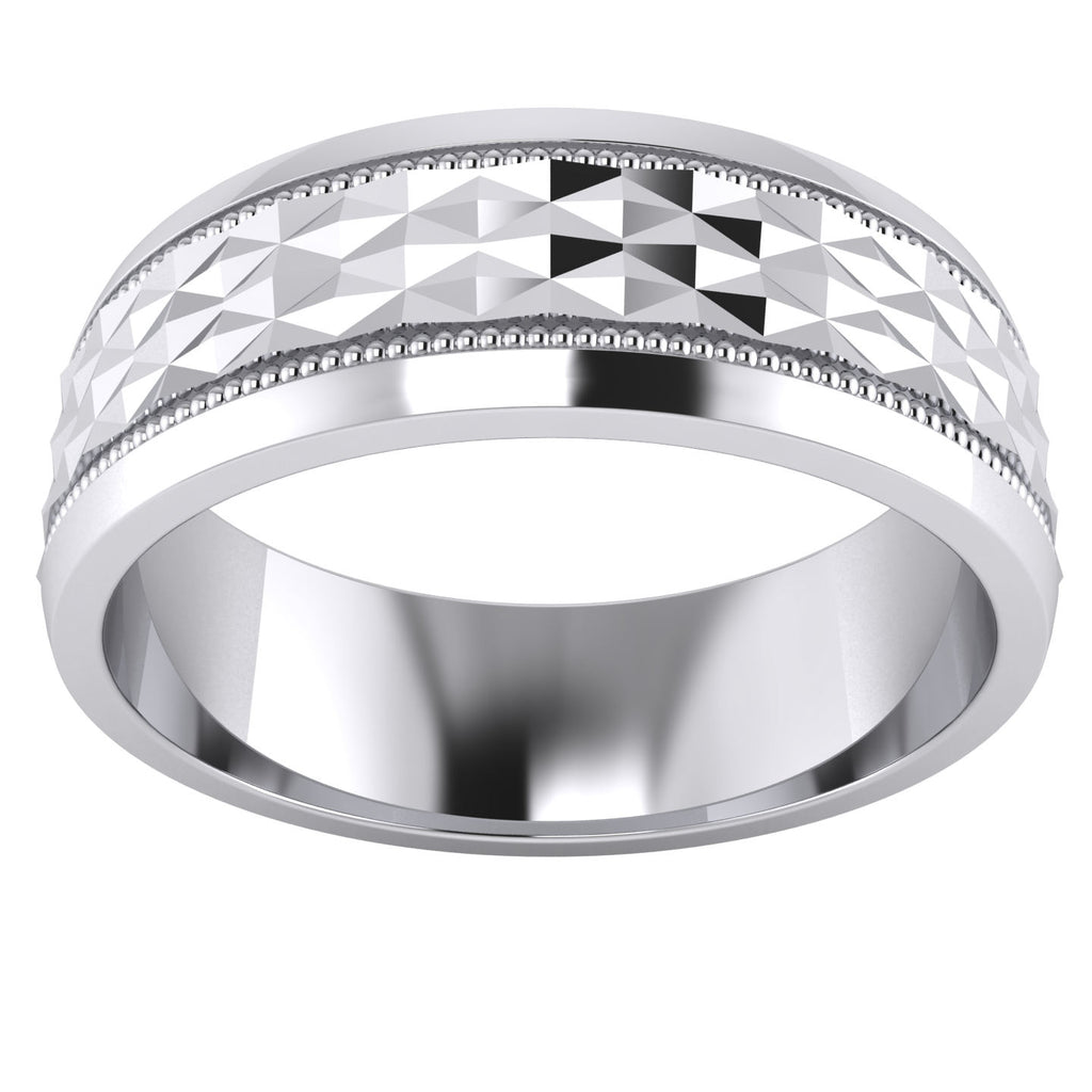 Heavy Sterling Silver 7mm Mens Wedding Band Diamond Cut Sparkle Patterned Ring Comfort Fit Polished