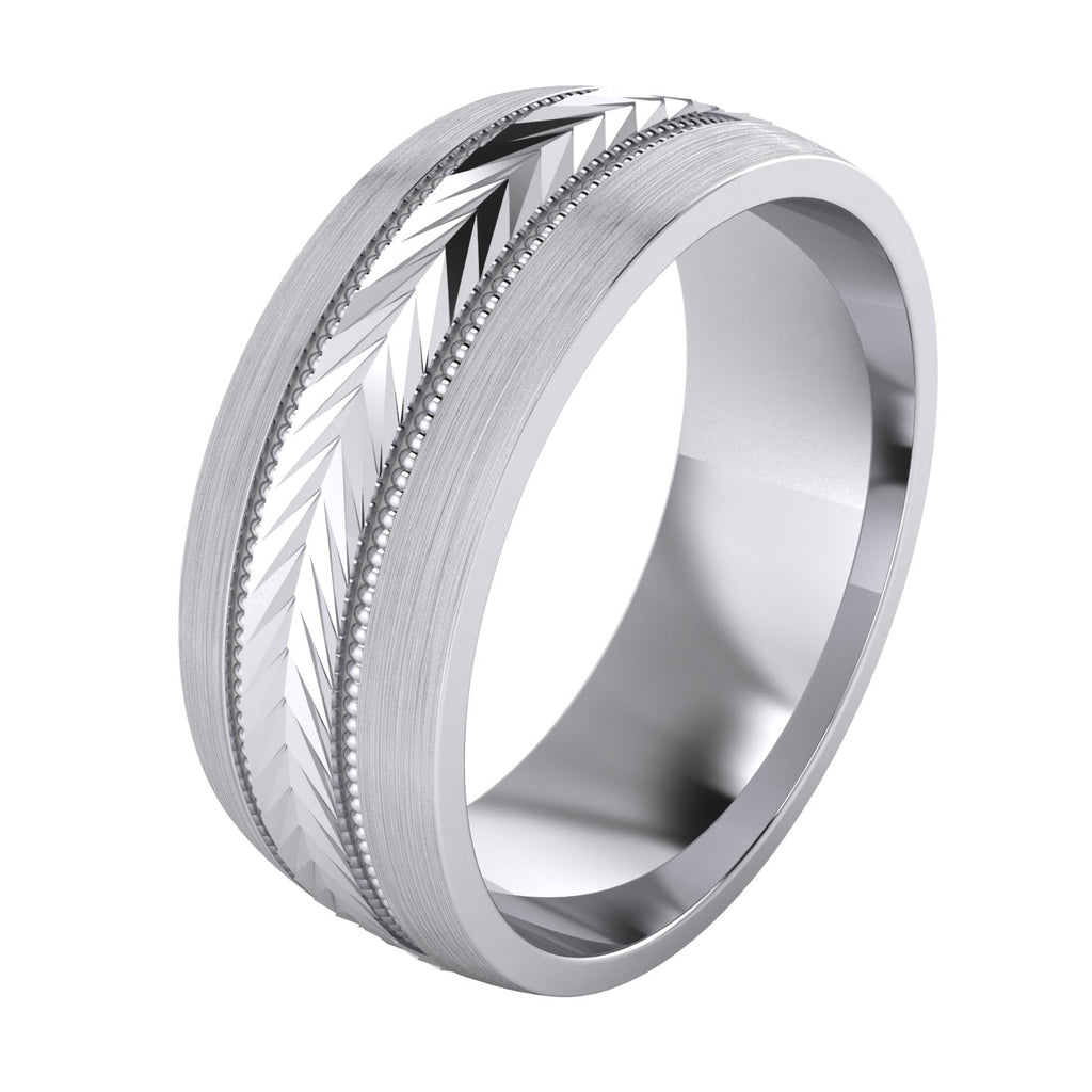 Heavy Sterling Silver 8mm Mens Wedding Band Arrow Patterned Ring Comfort Fit Brushed