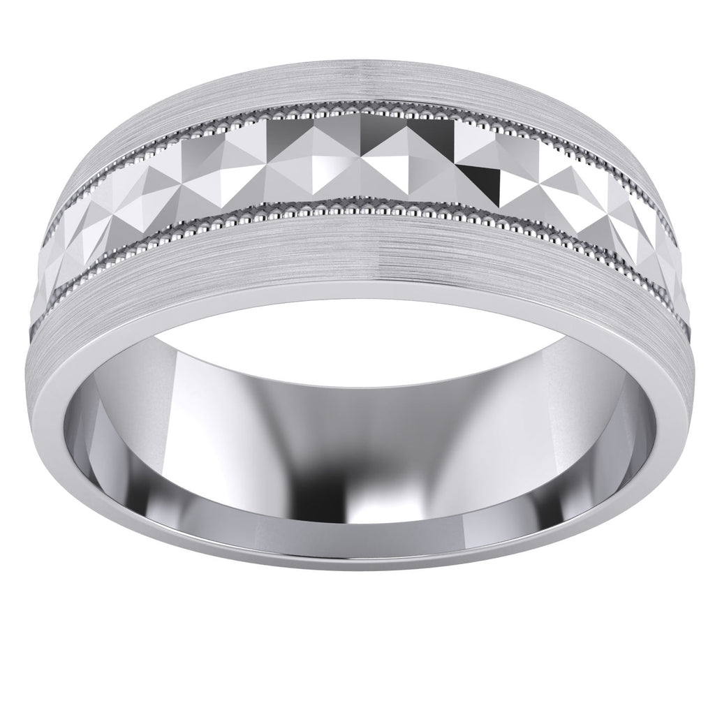 Heavy Sterling Silver 8mm Mens Wedding Band Diamond Cut Pyramid Patterned Ring Comfort Fit Brushed