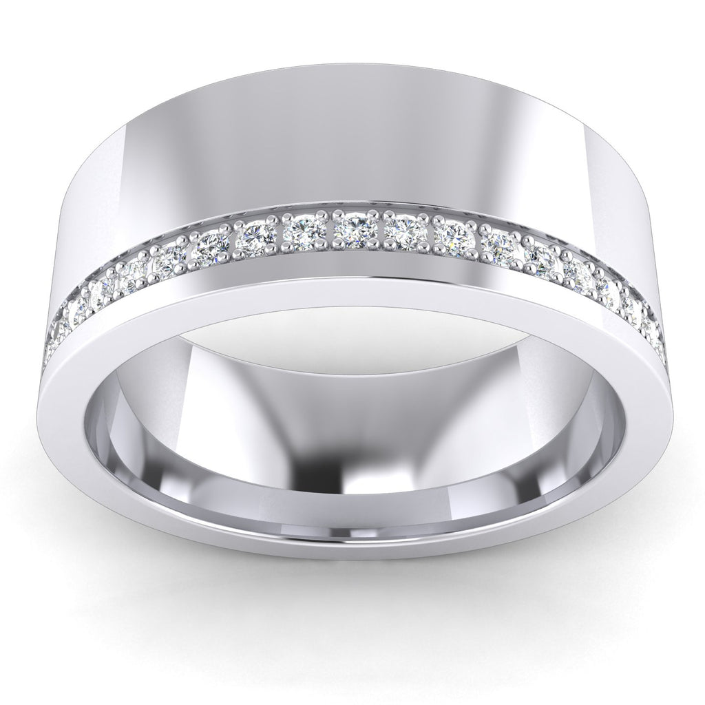 8mm Super Heavy Sterling Silver Simulated Diamond Flat Court Shape Wedding Band