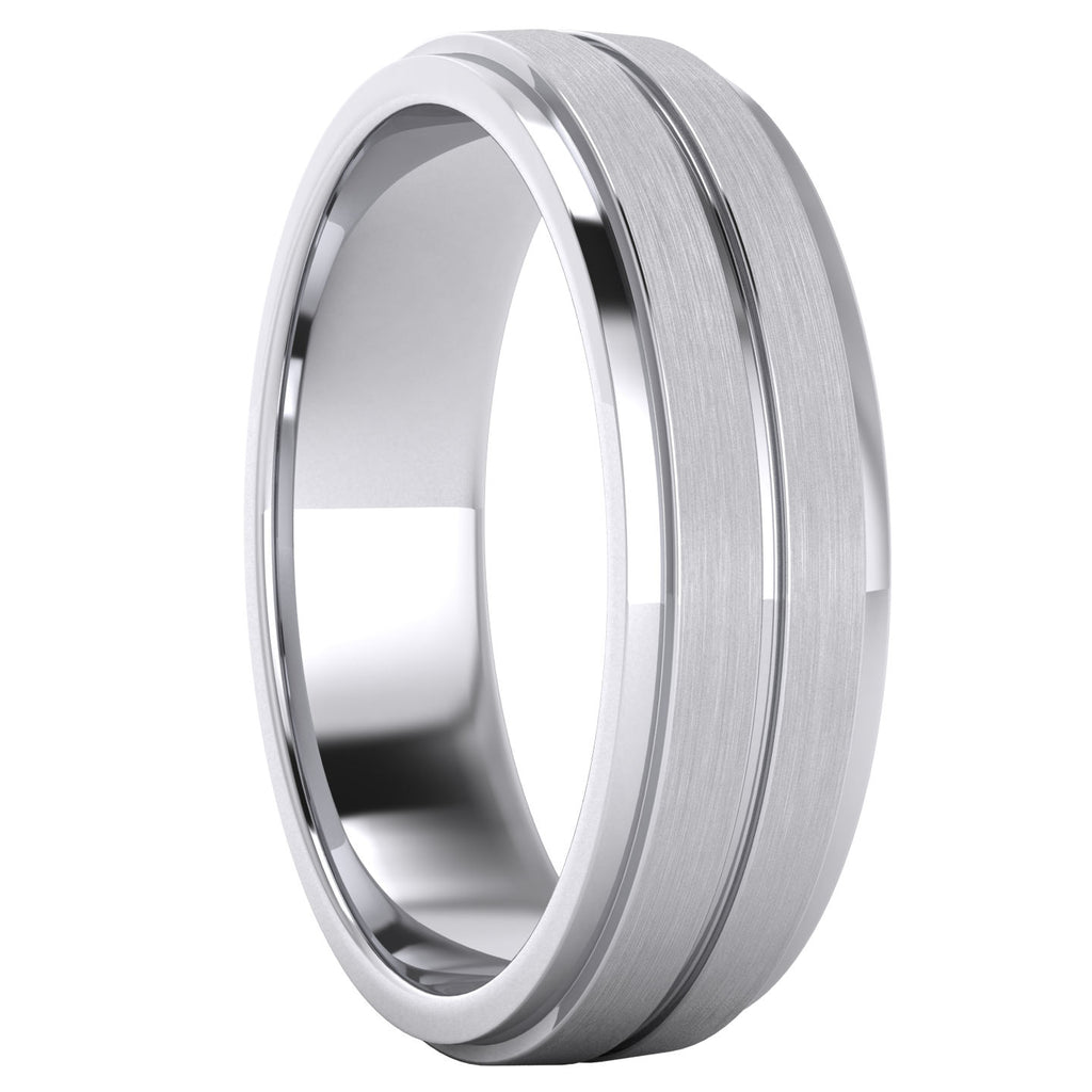 Heavy Solid Sterling Silver 6mm Unisex Wedding Band Comfort Fit Ring Brushed Raised Center Grooved Polished Sides