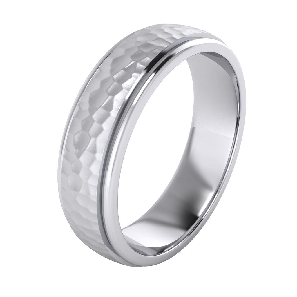 Heavy Solid Sterling Silver 6mm Hammered Unisex Wedding Band Comfort Fit Ring Raised Center Polished Sides (5)