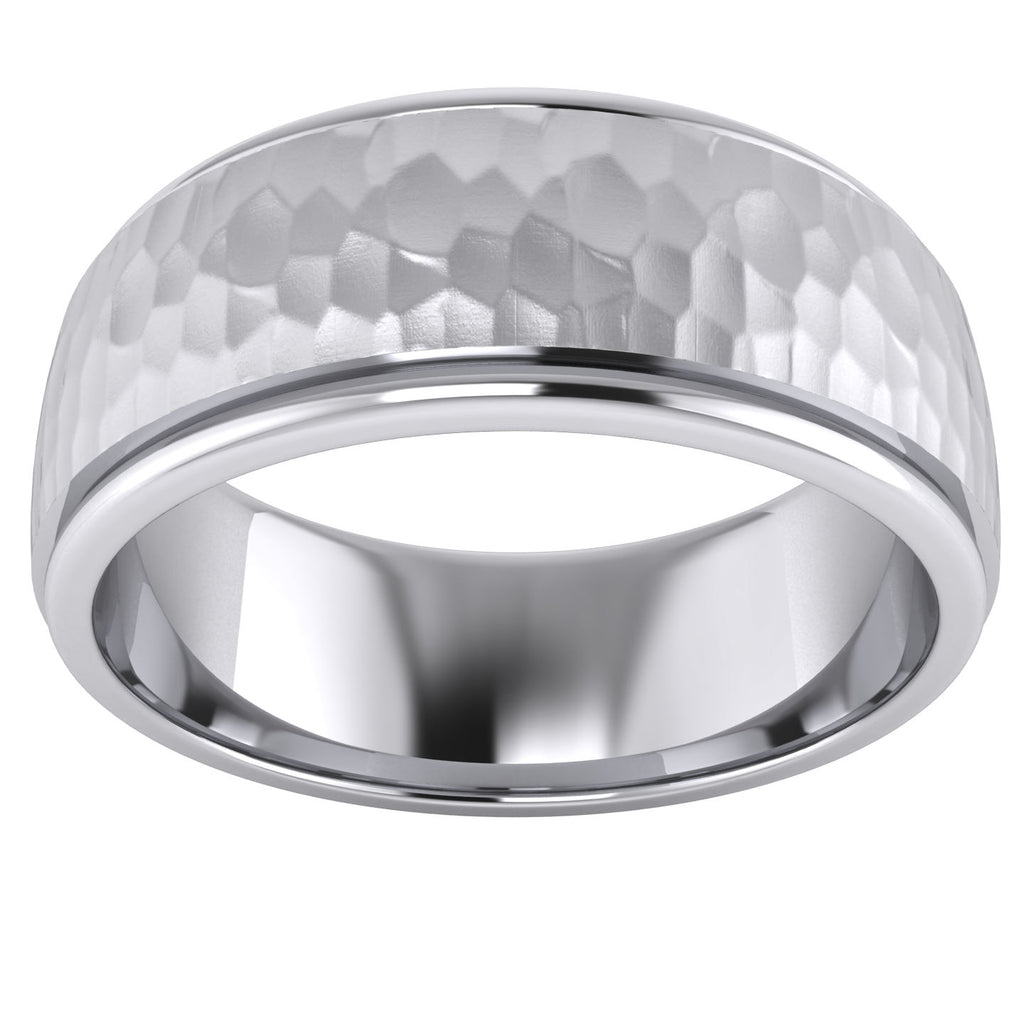 Heavy Solid Sterling Silver 8mm Hammered Unisex Wedding Band Comfort Fit Ring Raised Center Polished Sides (5)