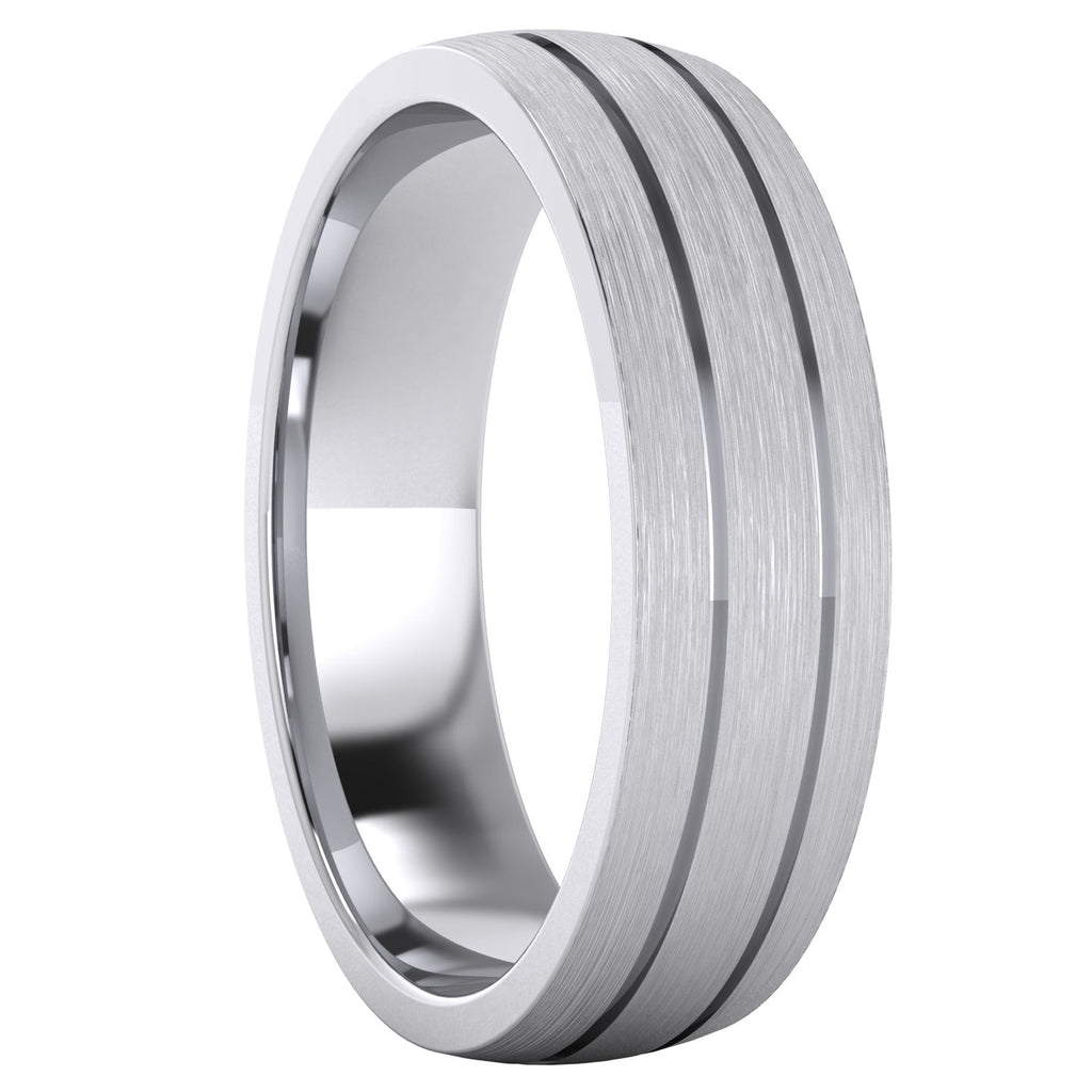 Heavy Solid Sterling Silver 6mm Unisex Wedding Band Comfort Fit Domed Ring Two Grooves Brushed Surface