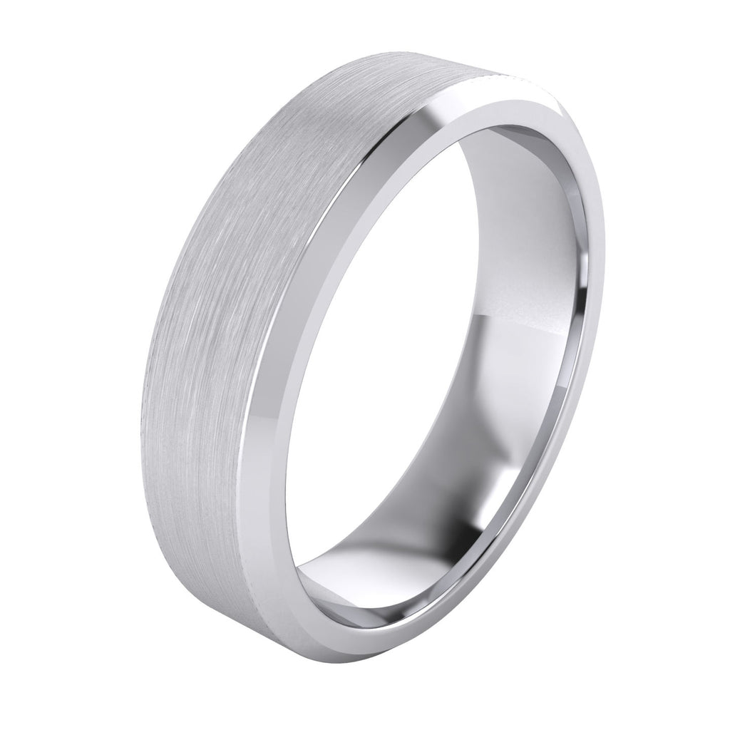 Heavy Solid Sterling Silver 6mm Flat Court Shape Matt Centre Polished Bevel Edges Mens Wedding Ring Plain Band