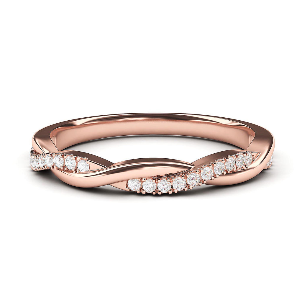 14k Rose Gold 2.5mm Petite Twisted Vine Simulated Diamond Ring Wedding Band Matching Ring