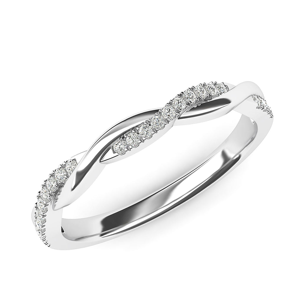 14k White Gold 2.5mm Petite Twisted Vine Simulated Diamond Ring Wedding Band Matching Ring