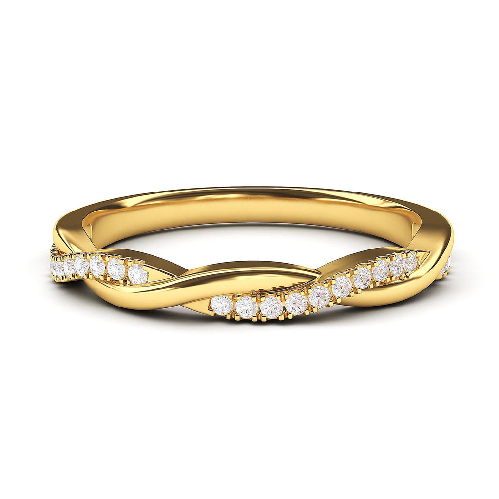 10k Yellow Gold 2.5mm Petite Twisted Vine Simulated Diamond Ring Wedding Band Matching Ring