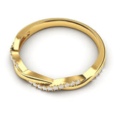 14k Yellow Gold 2.5mm Petite Twisted Vine Simulated Diamond Ring Wedding Band Matching Ring