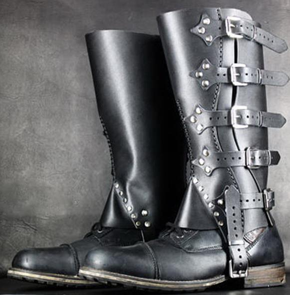 Vintage Medieval Warrior Knights Shoes Cover Long Boots Cover Gaiters Leg Armors