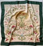 Vintage E Braun & Co Pink and White Floral Carnation Bouquet Print Silk Hand Rolled Head Scarf