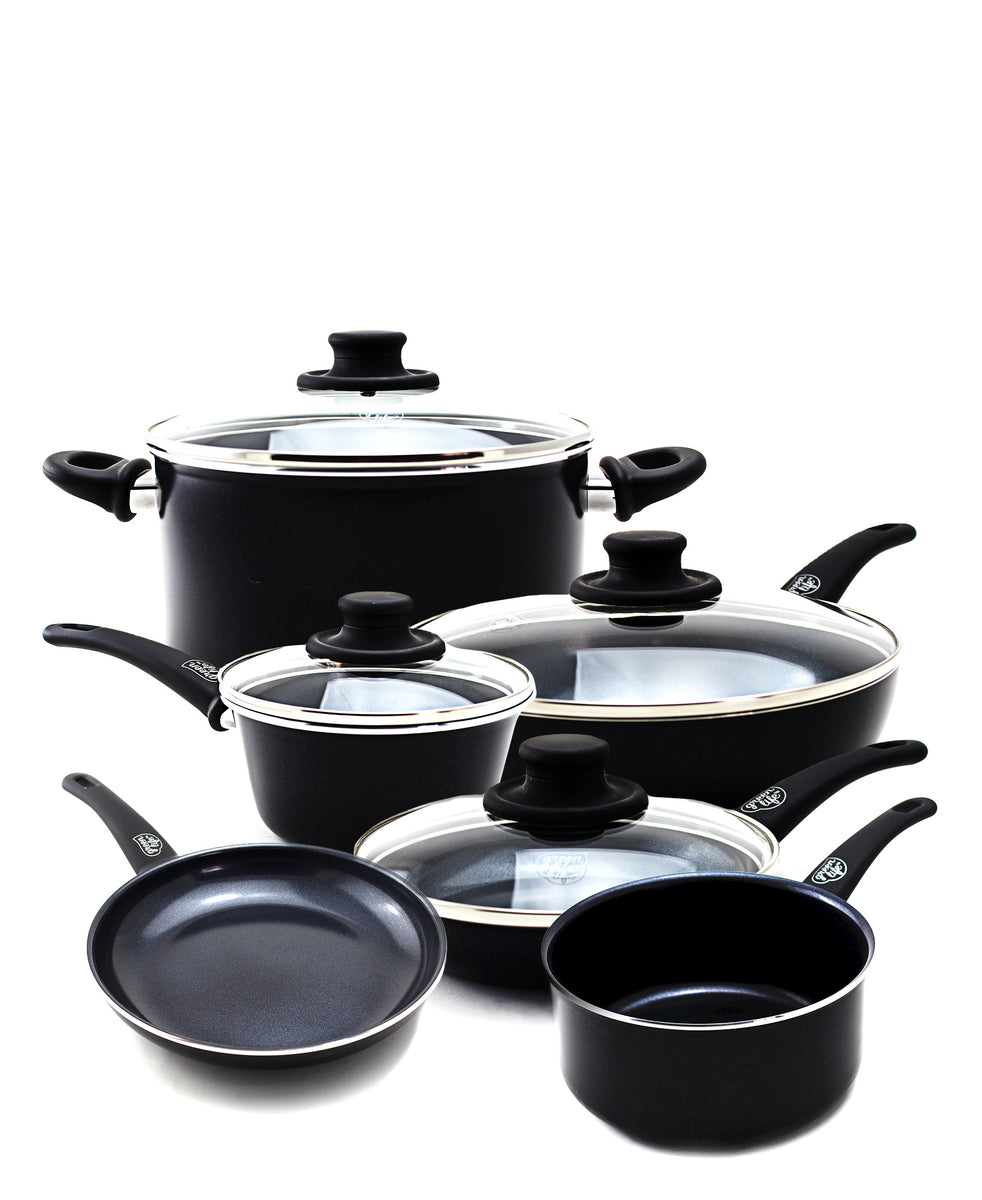 GreenPan GreenLife Diamond 14 Piece Pot Set - Black