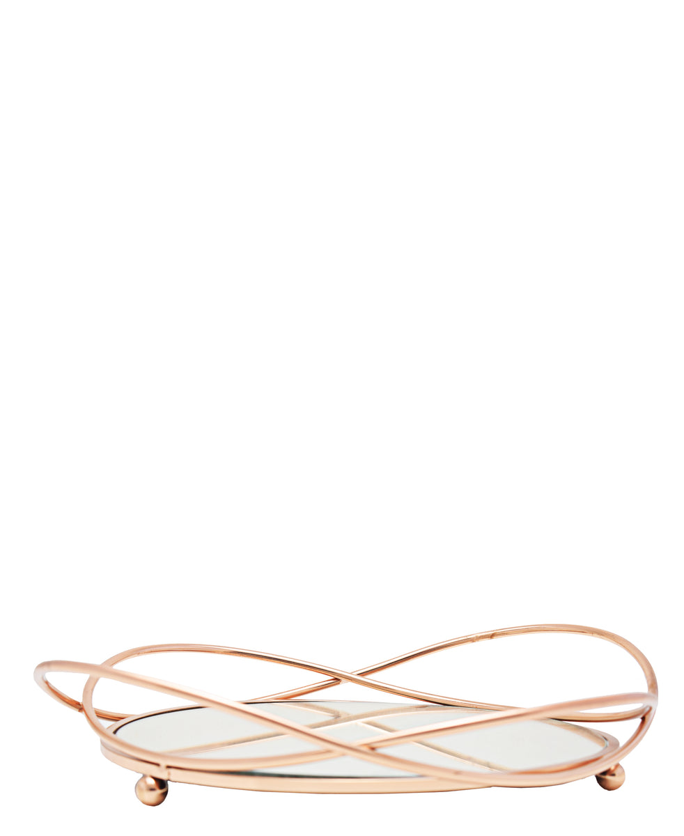 Round 37cm Mirror Tray - Rose Gold
