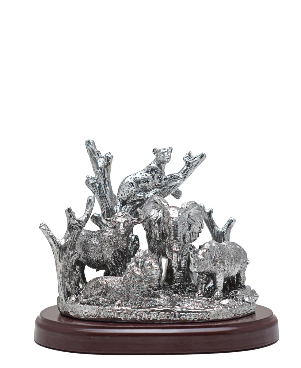 Antique Big 5 On Plinth 18 x 16cm - Silver