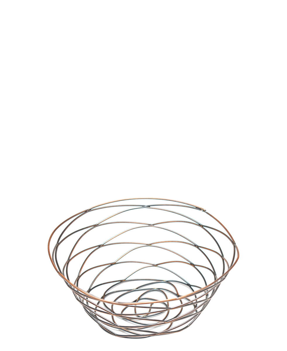 Regent Small Antique Brass Plated Wire Basket - Rose Gold
