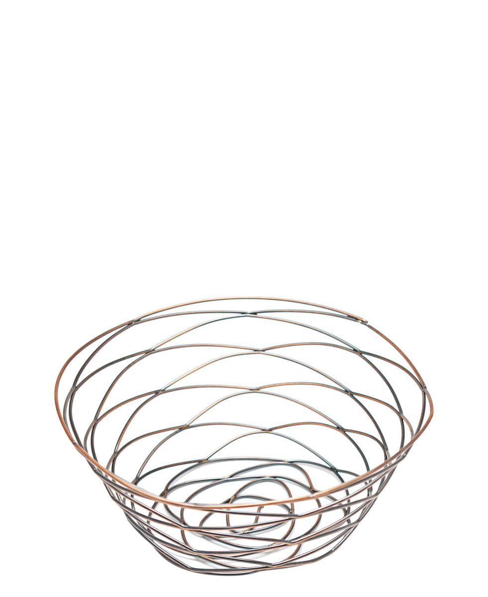 Regent Large Antique Brass Plated Wire Basket - Rose Gold