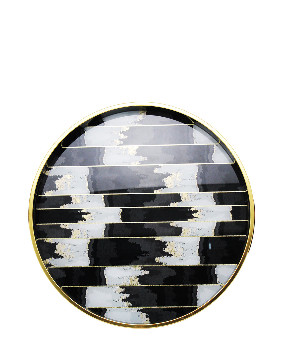 Glass 2 Piece Tray With Marble Finish - Black & White