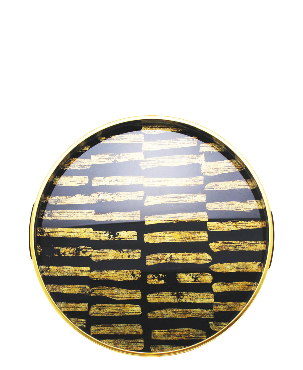 Glass 2 Piece Tray With Marble Finish - Black & Yellow