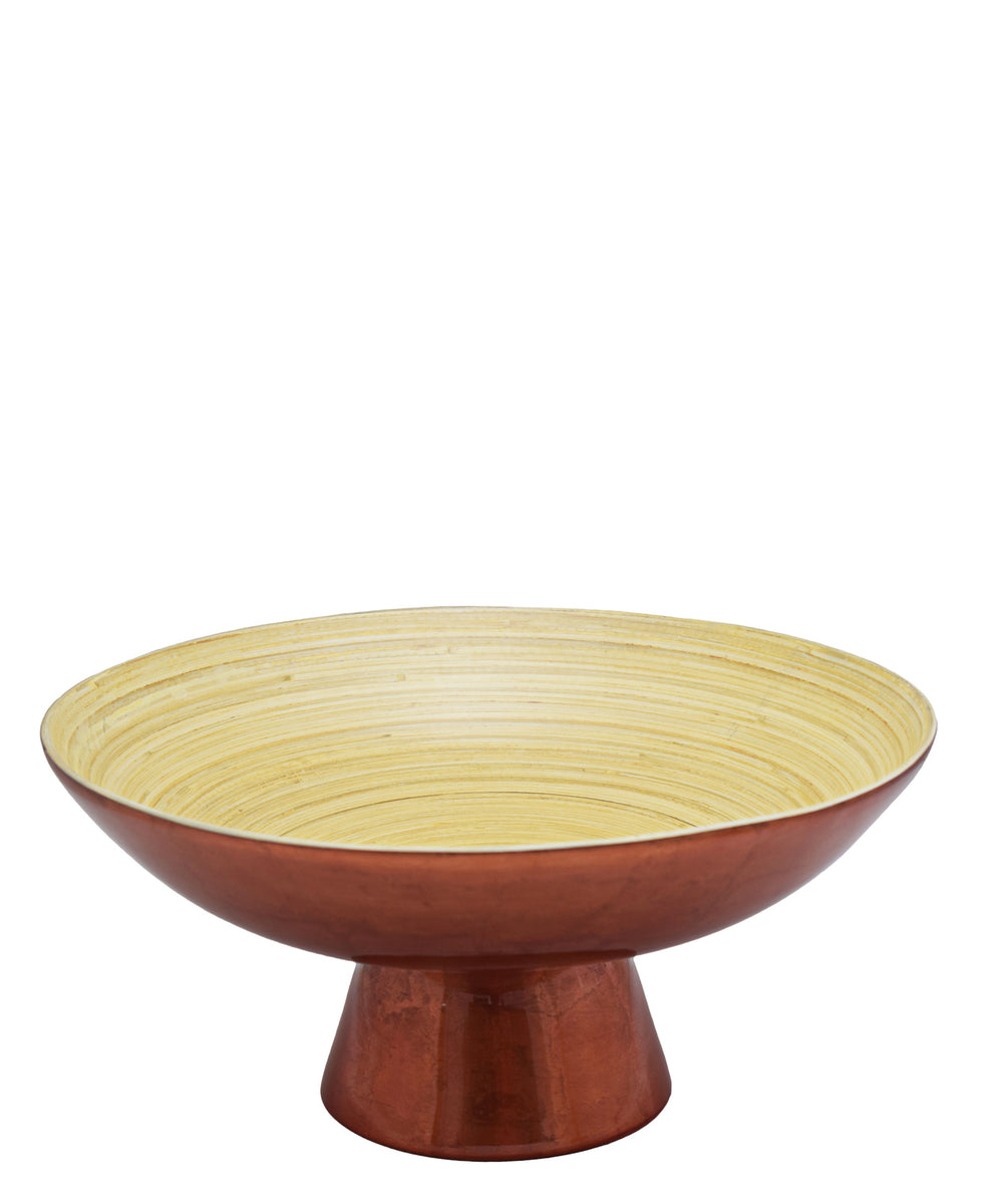 Bamboo Pedestal Bowl Large - Brown
