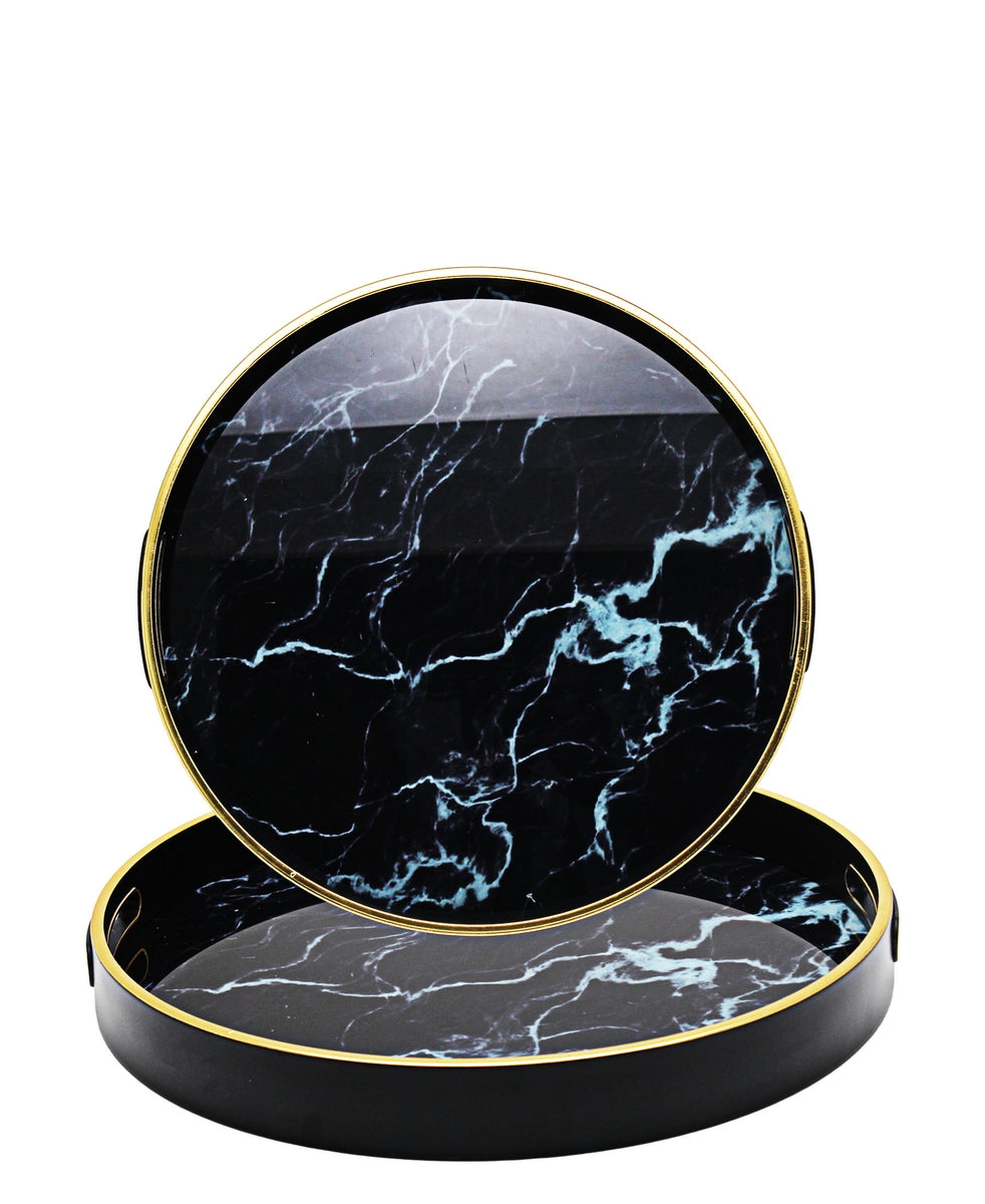 Glass 2 Piece Tray With Marble Finish - Black