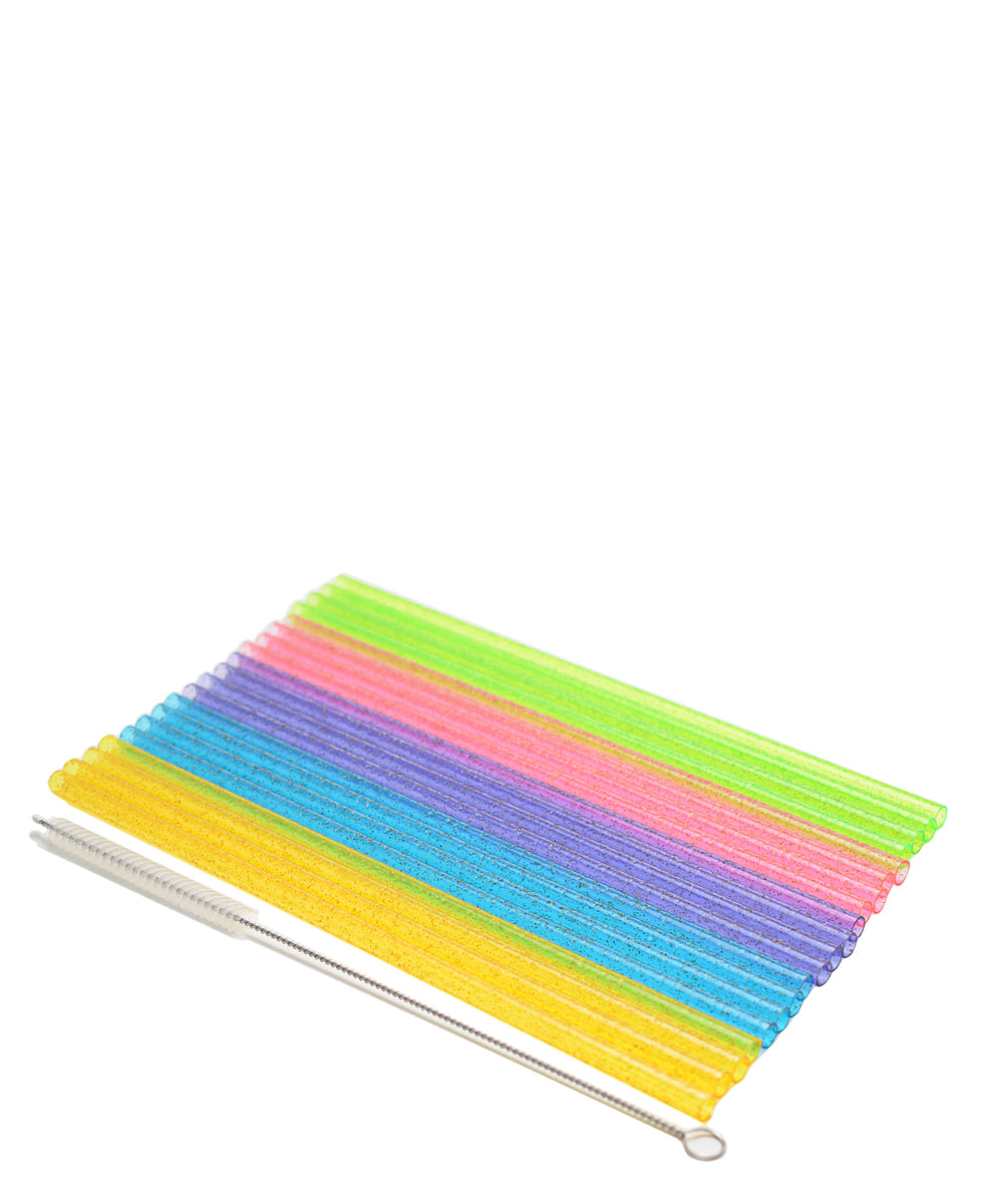 Joie Glitter Straws With Brush 20 Piece - Assorted