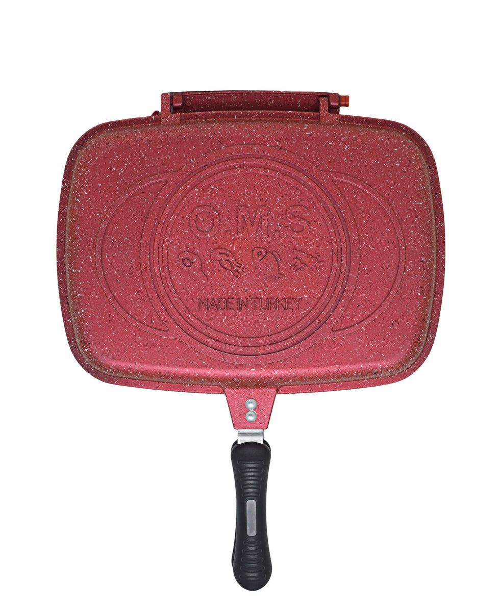 OMS Granite Double Sided Grill Pan - Red