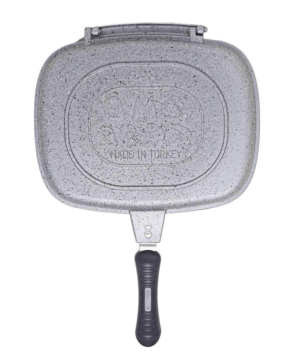 OMS Granite Double Sided Grill Pan - Grey