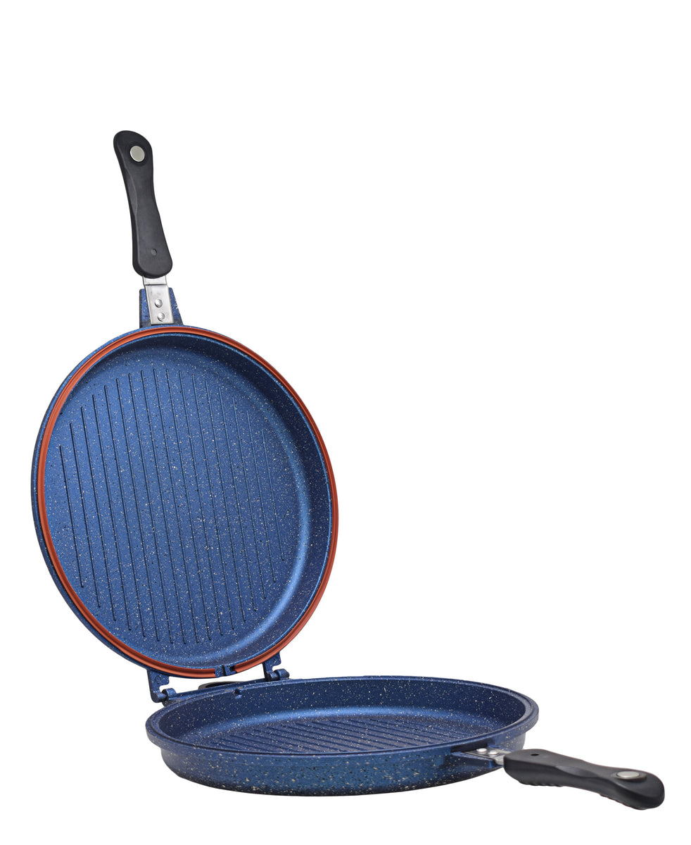 OMS Granite Double Sided Grill Pan - Blue