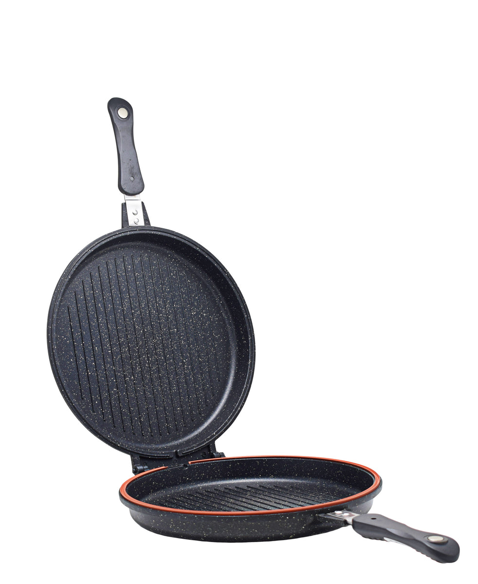 OMS Granite Double Sided Grill Pan - Black