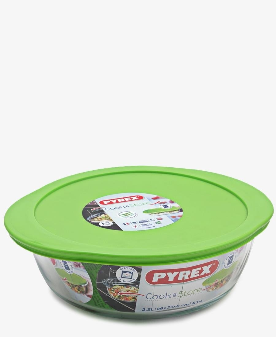 Pyrex 1.7Lt Round Dish With Lid - Green