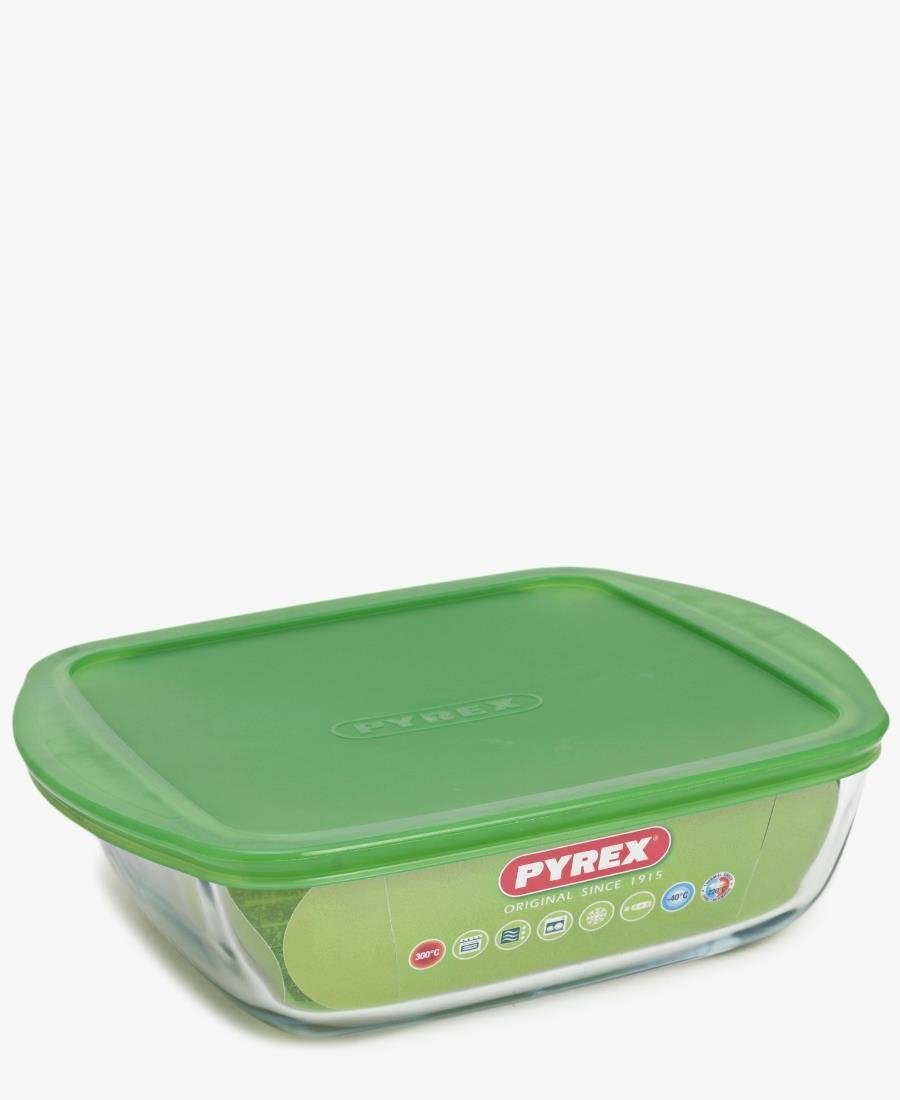 Pyrex 2.5Lt Square Dish With Lid - Clear