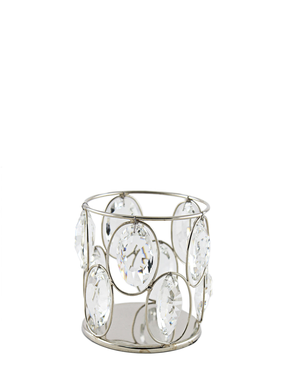 Majestic Crystal Candle Holder - Silver