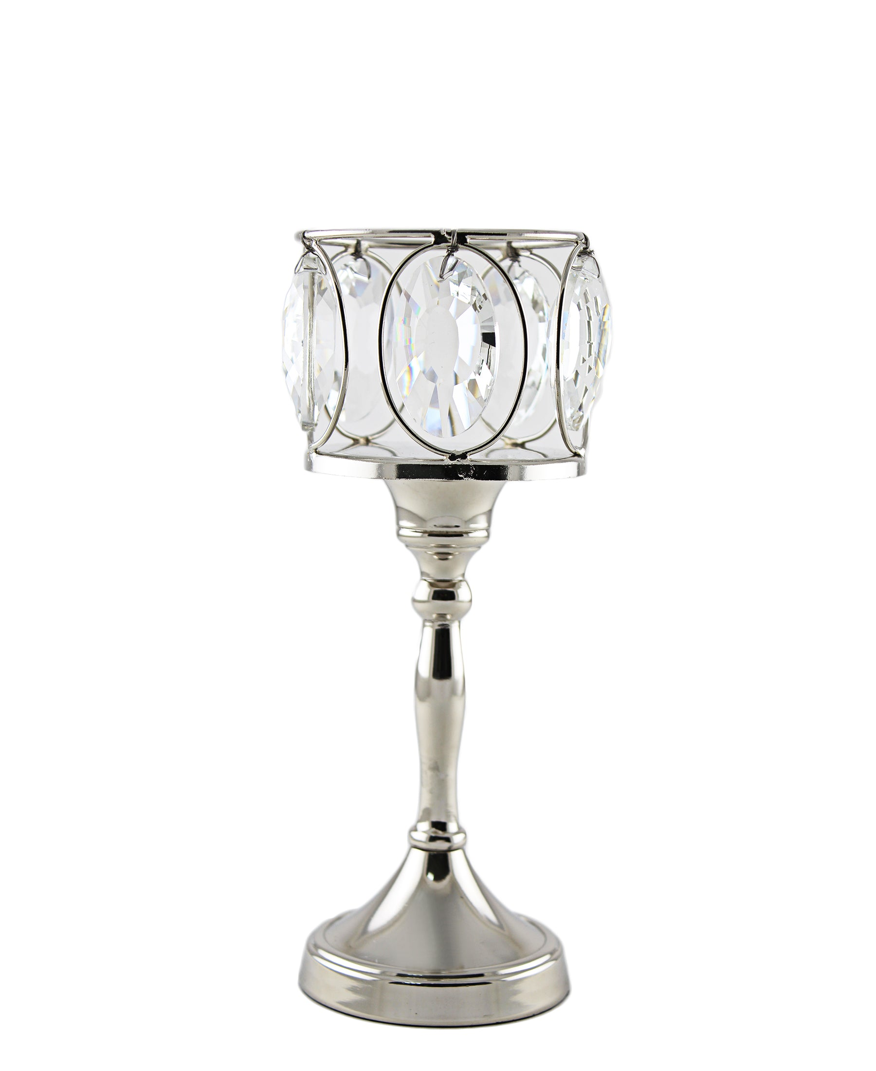 Majestic Crystal T-Lite On Stand - Silver