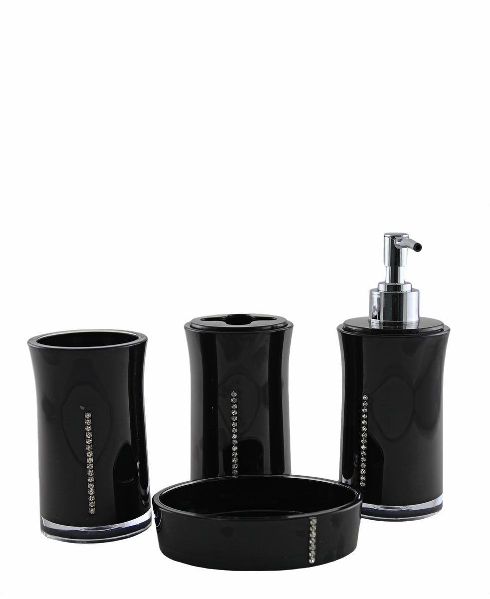 Bath Series Bathroom Set 4 Piece - Black
