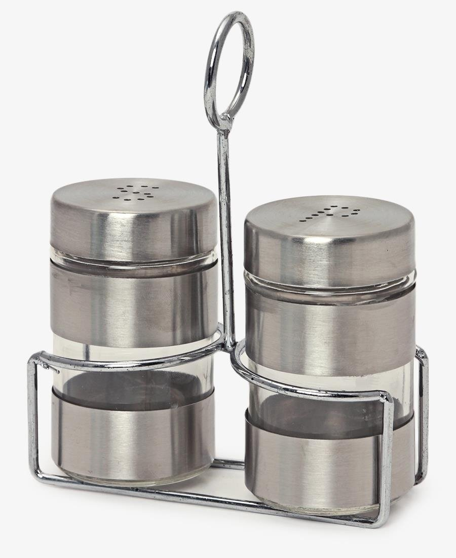 Salt & Pepper Shaker Set With Stand - Silver