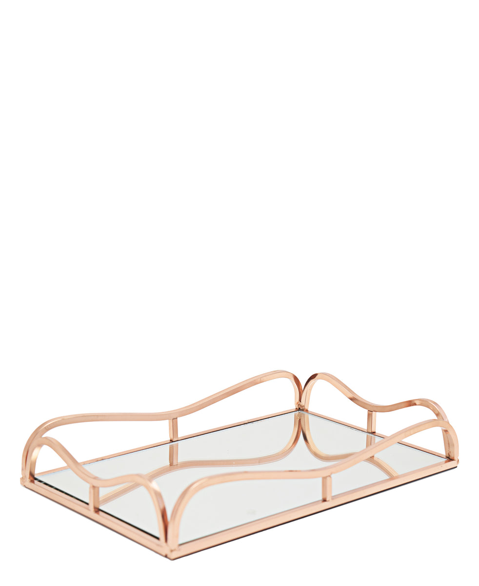 Rectangular 31cm Mirror Tray With Handles - Gold