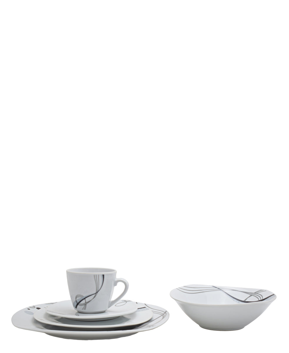 Casa Modeina Twirl Dinner Set 20 Piece - White