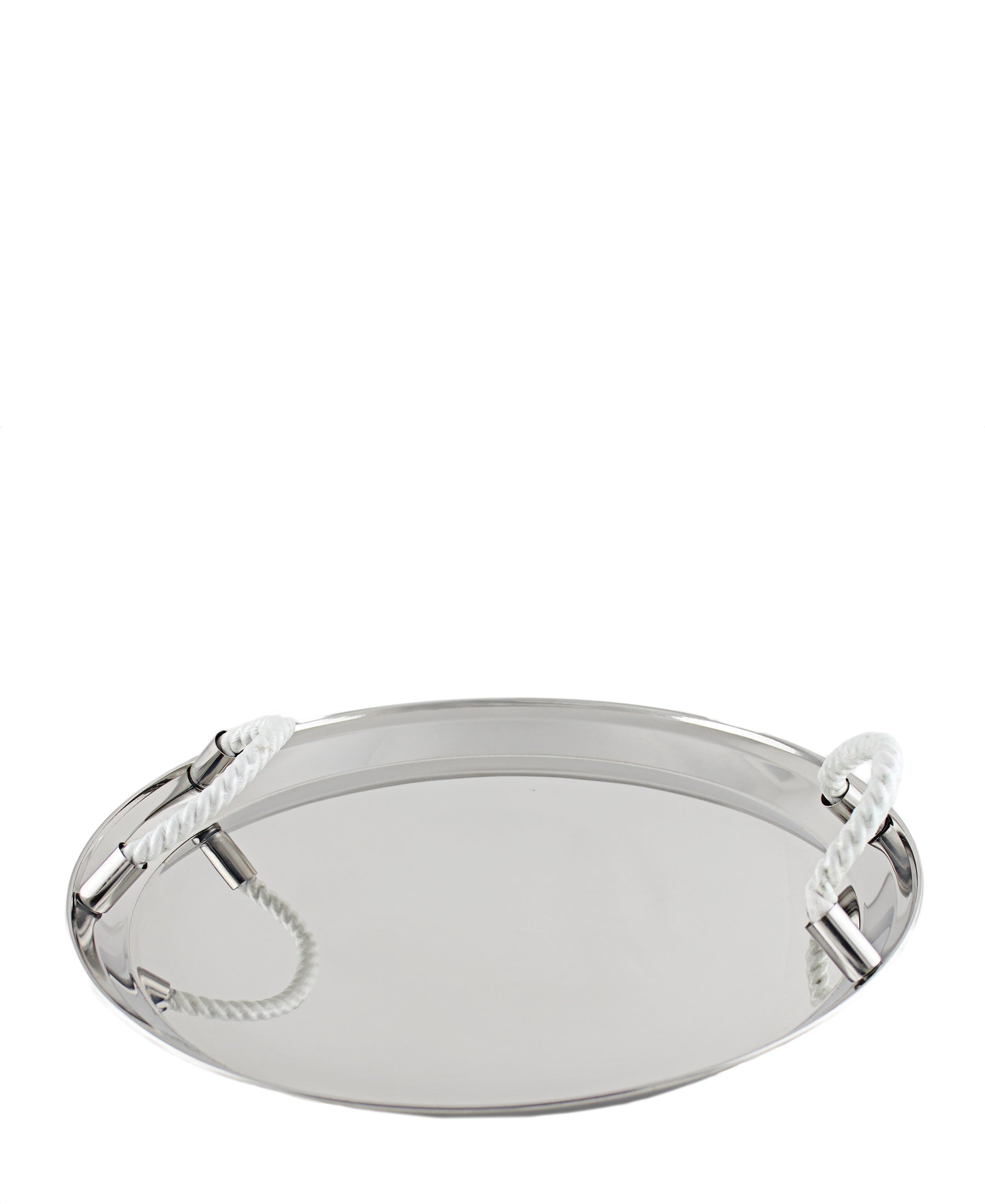 Serving Tray With Rope - Silver