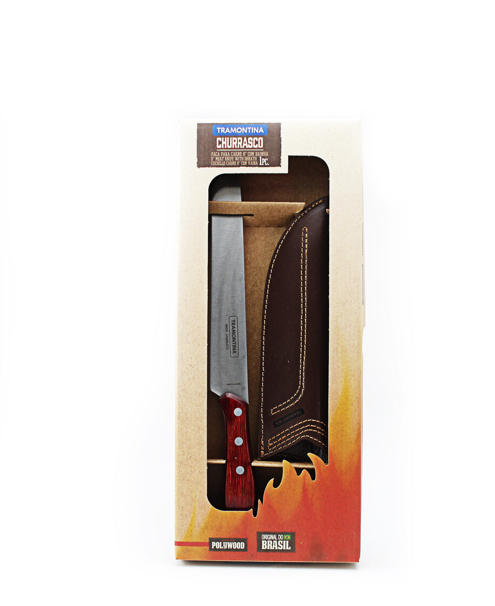 Tramontina Meat Knife With Free Leather Sheath - Red