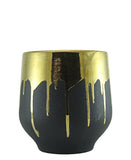 Gold Drip Short Vase - Black