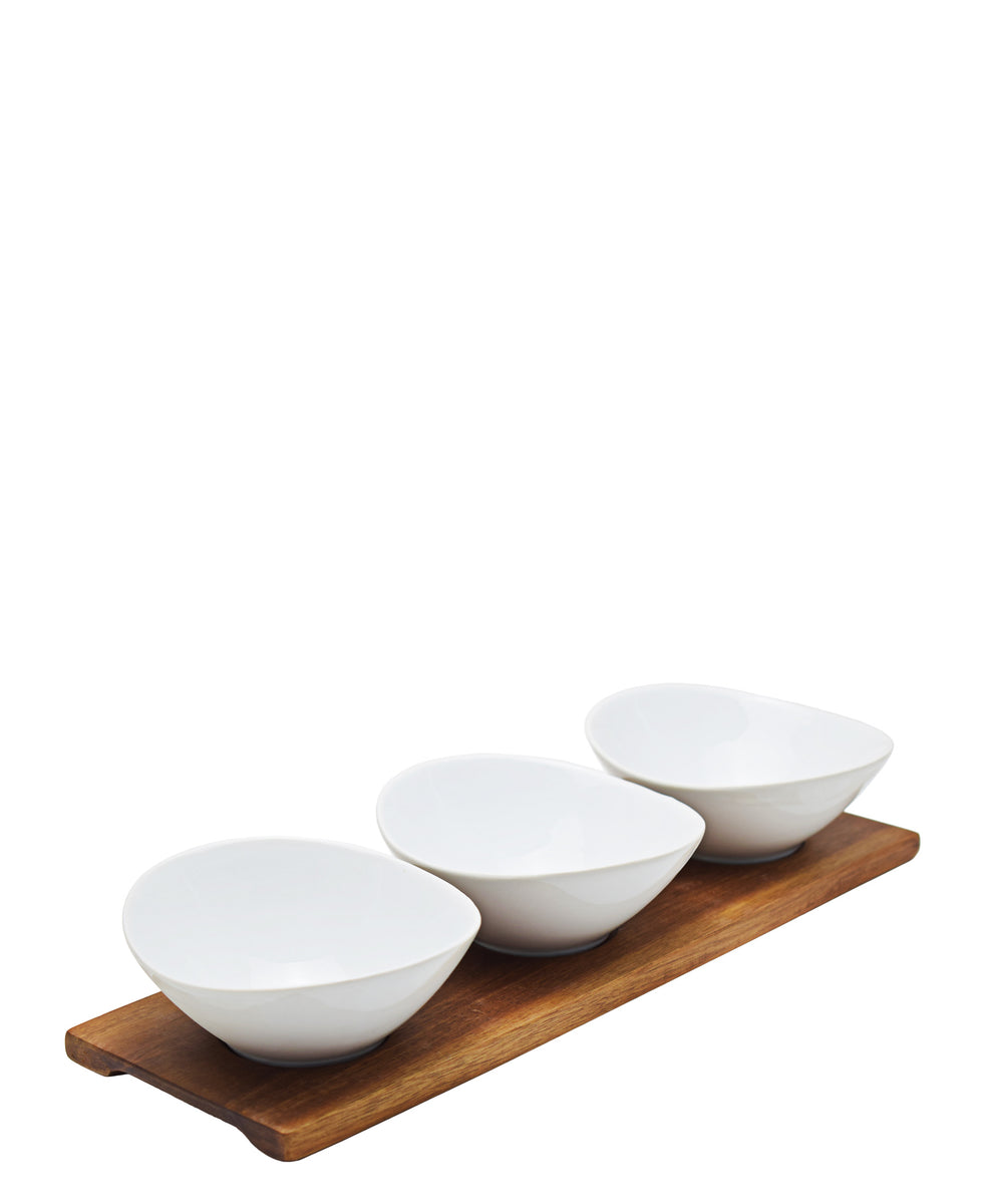 Eetrite 3 Oval Mini Bowls With Wooden Tray - White