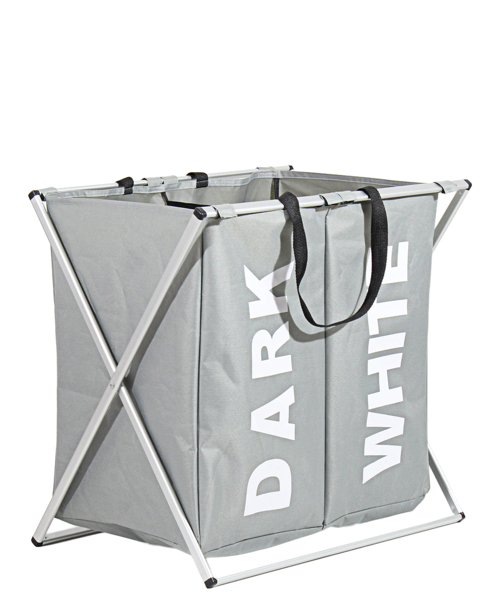 Double Laundry Basket - Grey