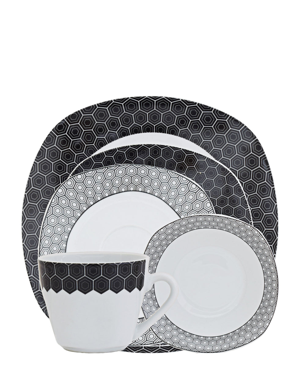 Casa Modeina 3D Dinner Set 20 Piece - White & Black